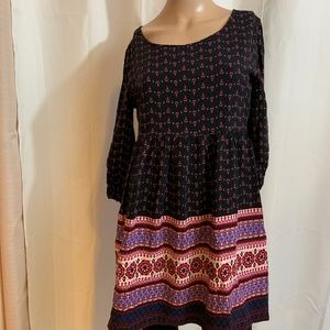 FOREVER 21 BOHO DRESS SZ S CREW NECK LINED FRESH